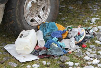 Trash near penguin colony